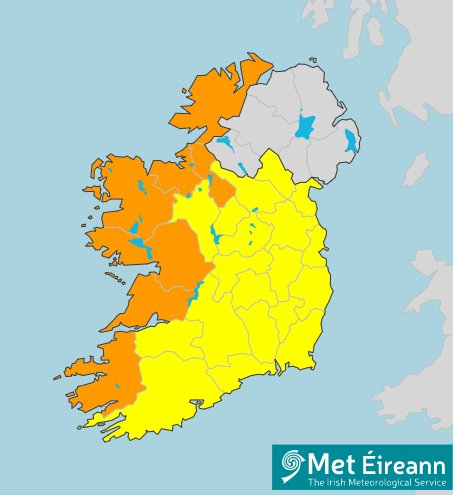 map of orange weather warning