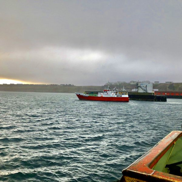 A French fising vessel leaving Scrabster harbour after unloading. Photo courtesy John Clark