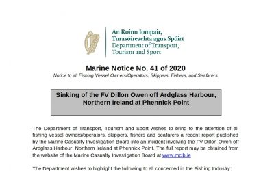 DTTS Issues Marine Notice No. 41 of 2020 for Irish Fishing Vessels