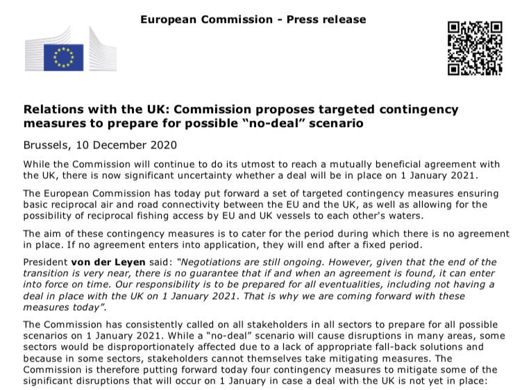 The European Commission has published its contingency plan in the event of a no-deal Brexit following last night's dinner meeting
