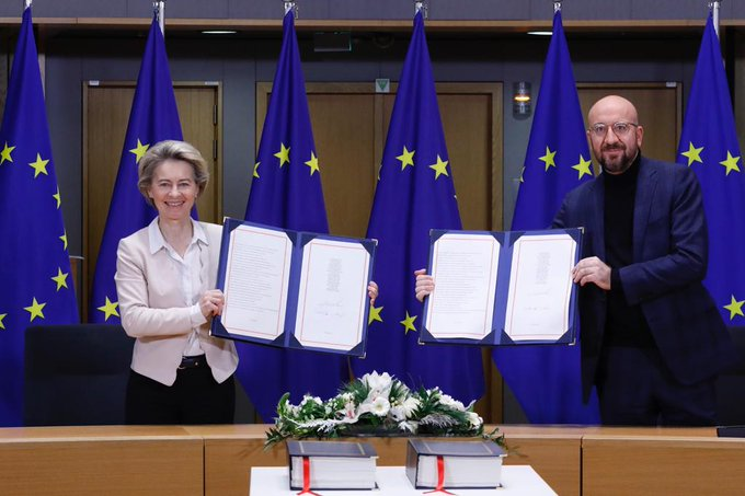 The EU-UK trade and cooperation agreement signed this morning by the President of the European Council and the President of the European Commission