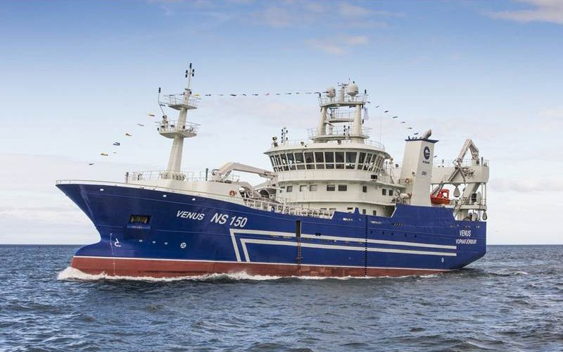 Icelandic pelagic fishing vessels like the Venus have reported decent blue whiting fishing south of the Faroe Islands