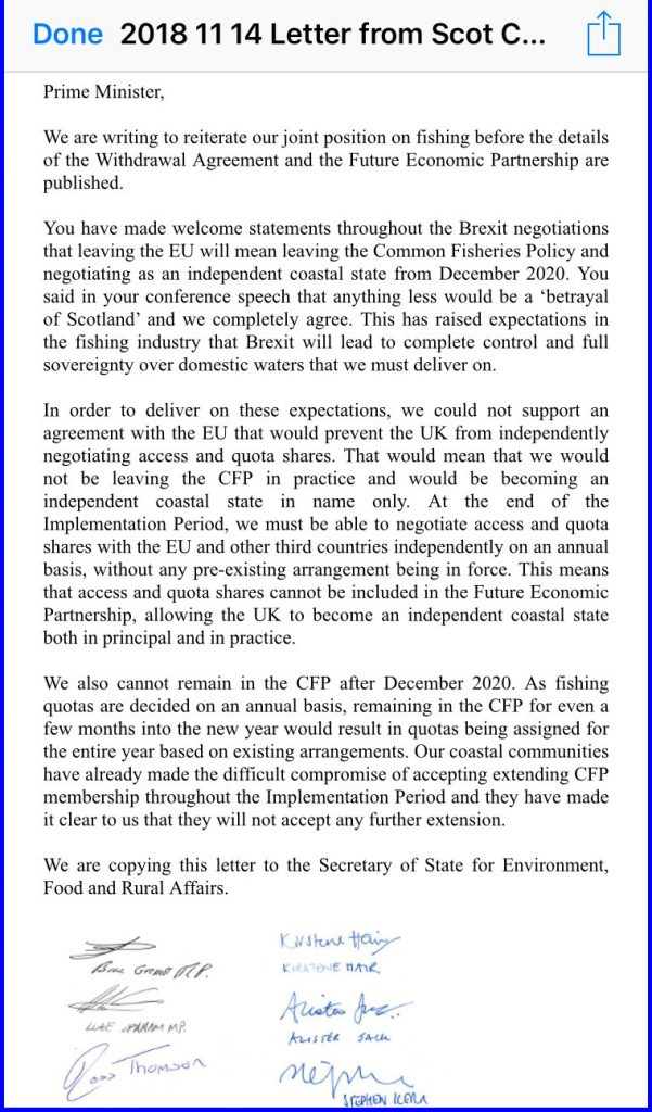 """The Scottish MSPs wrote """"In order to deliver on these expectations, we could not support an agreement with the EU that would prevent the UK from independently negotiating access and quota shares. That would mean that we would not be leaving the CFP in practice and would be becoming an independent coastal state in name only. At the end of the Implementation Period, we must be able to negotiate access and quota shares with the EU and other third countries independently on an annual basis, without pre-existing arrangement being in force. This means that access and quota shares cannot be included in the Future Economic Partnership, allowing the UK to become an independent coastal state both in principal and in practice."""