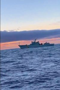 A Donegal fishing vessel was boarded at Rockall by the patrol boat, the Jura photograhed by the crew of the Northern Celt
