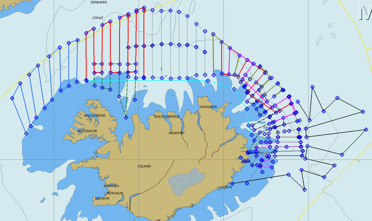 The capelin fishing is taking place off the east coast of Iceland