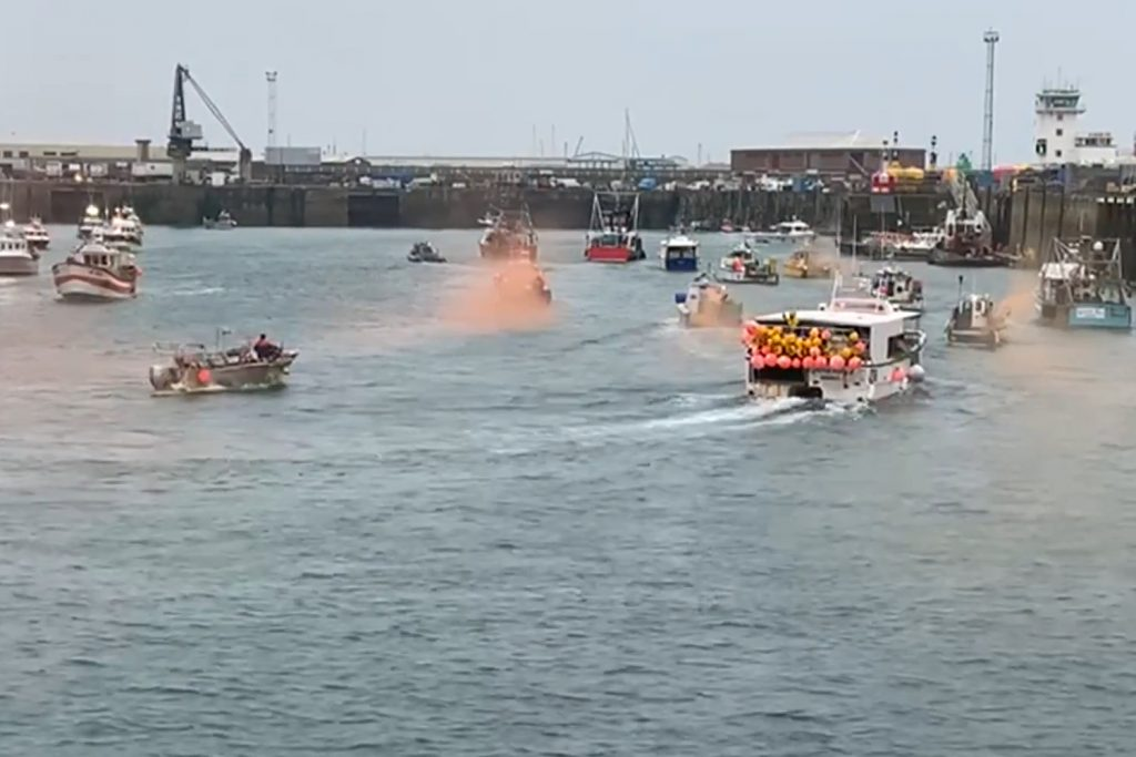 Fishers from Jersey Island protests in St Helier's harbour this morning. Photo: ITV
