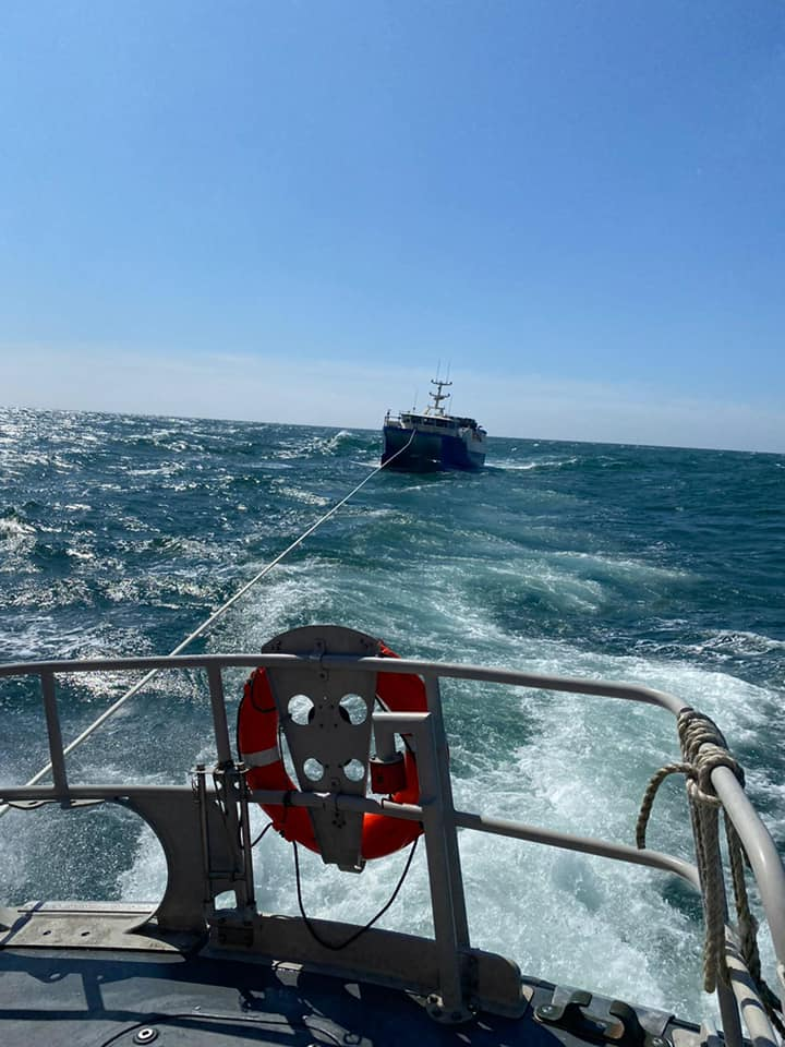 Ballycotton RNLI Lifeboat launched to fishing vessel with engine trouble south of Cork Harbour. Photo: RNLI/Ballycotton