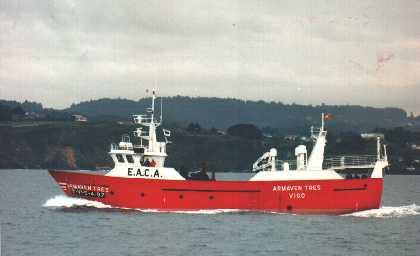 The Spanish-registered fishing vessel, Armaven Tres detained by the SFPA has been found guilty of under-recording and fined