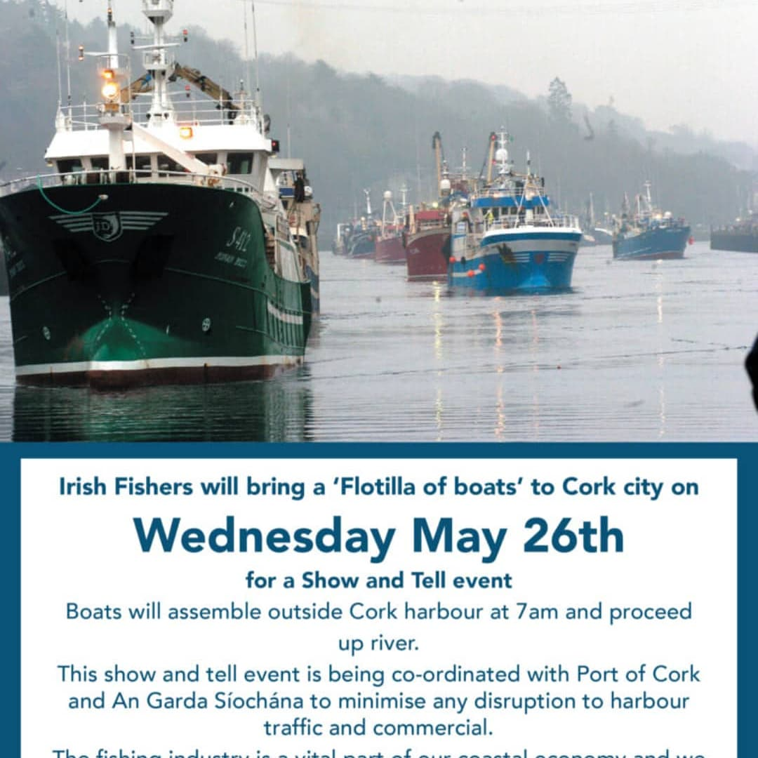 A flotilla of Irish fishing vessels will sail into Cork Harbour on Wednesday, 26 May to highlight the plight of the Irish fishing industry