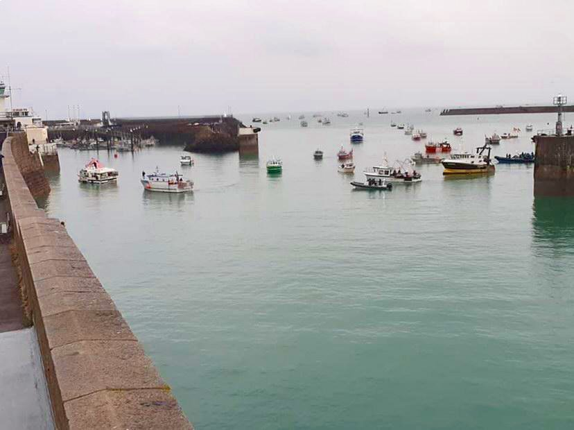 The Jersey Government has sent a delegation to speak to French fishers protesting off the island's coast. Photo courtsey Peter Rondel