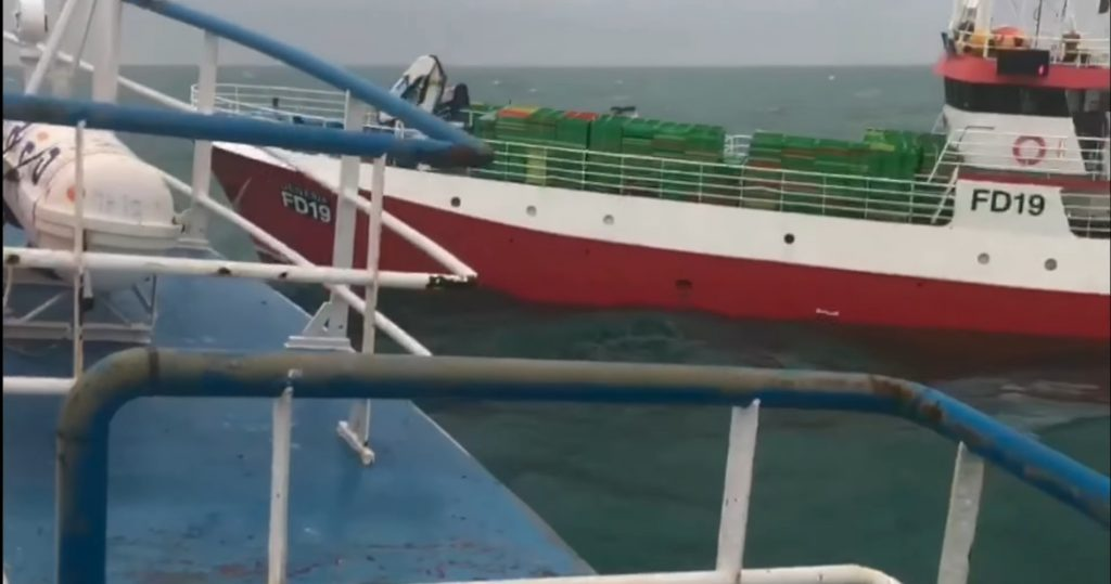 Shetland based trawler Mizpah LK 173 was the victim of an attack by a UK-registered longliner Genesis FD 19 north of the Shetland islands