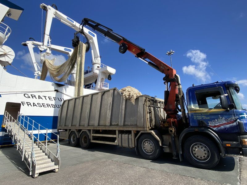 Old nets from Shetland's pelagic fleet have been donated to support a charity's local and international actitivites