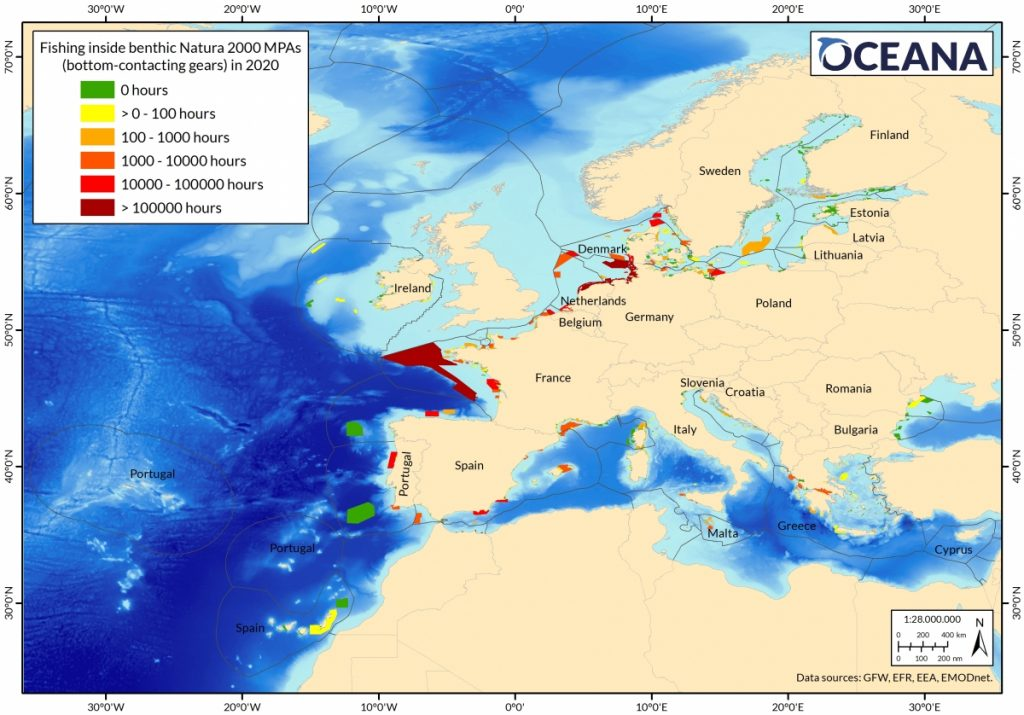 Oceana claims satellite data shows bottom trawling, with most intensely trawled sites in Germany, the Netherlands, France and Denmark